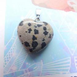 Pendentif Coeur de Jaspe dalmatien ~ Equilibre
