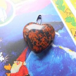Pendentif Coeur d'Obsidienne acajou ~ Élan